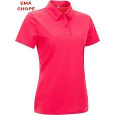 Ema Shope - Kaos Polos Polo Shirt S M L XL Lengan Pendek Baju Pakaian Olahraga Kaos Kerah Atasan Wanita Pria Cewek Cowok Lacos Pique Fashion Keren Nyaman Bagus Adem Simple - Pink Fanta