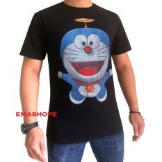 Ema Shope - Kaos T-Shirt Distro Atasan Pria Wanita 100{55e037da9a70d2f692182bf73e9ad7c46940d20c7297ef2687c837f7bdb7b002} Cotton Combed 30s Baju Cewe Cowo Pakaian Fashion Gambar Kartun Film Anime Kartun Doraemon Baling Baling -  Kaos Hitam