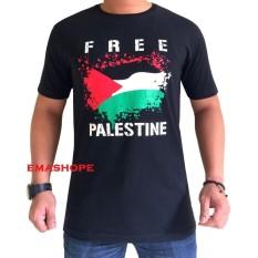 Ema Shope - Kaos T-Shirt Distro Atasan Pria Wanita Cotton Combed 30s Baju Cewe Cowo Pakaian Fashion Gambar Free Palestin - Hitam
