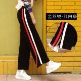 Cuci Gudang Longgar Korea Fashion Style Pleuche Perempuan Lurus Panjang Celana Kulot Ll108 Merah Dan Putih Strip