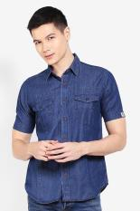 Emba Casual  Men Clothing Shirts Formal Shirts  Pria Pakaian Shirts Shirts Formal Navy Blue Biru laut Diskon discount murah bazaar baju celana fashion brand branded