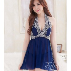 Embroidered Cotton Pad Underwear Ladies Sexy Pajamas Lace Suspenders Sleeping Skirt - intl