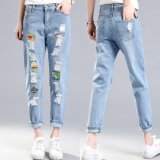 Diskon Produk Bordir Buiter Ripped Jeans Penawaran Khusus Pelembut Kantong Patchwork Rendah Fashion Jeans Untuk Lubang Wanita Vintage Girls Denim Celana Pensil Biru Muda Internasional