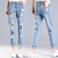 Spek Bordir Buiter Ripped Jeans Penawaran Khusus Pelembut Kantong Patchwork Rendah Fashion Jeans Untuk Lubang Wanita Vintage Girls Denim Celana Pensil Biru Muda Internasional Oem
