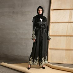 Embroidery Lace Muslim Long Coat Robes Islamic Cardigan Dress Ramadan Elegant Abaya with Belt
