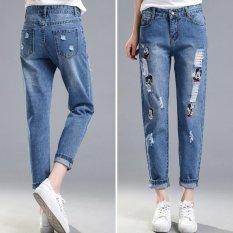 Bordir Ripped jeans Penawaran Khusus Pelembut Kantong Patchwork Rendah Fashion Di Pinterest Boyfriend Jeans untuk Lubang Wanita Vintage Girls Denim Celana Pensil -Dark Blue-Intl