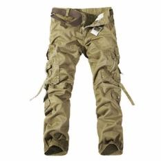 Encontrar Pria Kasual Militer Kargo Solid Multi-pocket (Khaki)-Intl