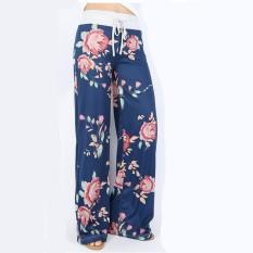 Eozy Modis Wanita Bunga Cetak Kasual Longgar Celana Harem Tinggi Pinggang Celana Lurus Celana Lebar Kaki Celana Panjang Etnis gaya-Internasional
