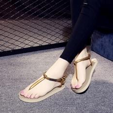 EP Jual Hot Fashion Cewek dan Wanita Toe Clip Sepatu Beach Flip Flop Sandal-Emas-Intl