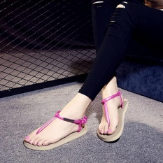 EP Jual Hot Fashion Cewek dan Wanita Toe Clip Sepatu Beach Flip Flop Sandal-Pink dengan Emas- INTL