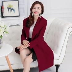 EP Wanita Fashion Pendek Lengan Panjang Rompi Slim Causal Kantor Lady Formal Jaket Blazers-Anggur Merah-Intl
