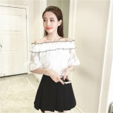 Spesifikasi Era Sweet G*rl Fashion A World Shoulder Short Sleeve Blouse Lace Solid Color Shirt Intl Paling Bagus