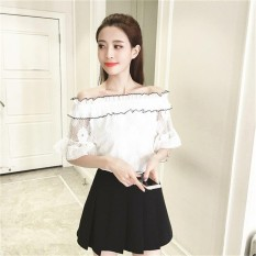 Beli Era Sweet G*rl Fashion A World Shoulder Short Sleeve Blouse Lace Solid Color Shirt Intl Lengkap