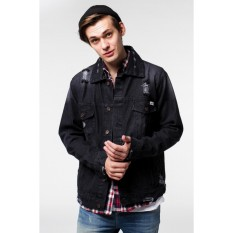 Toko Erigo Trucker Jacket Jeans Keep Rollin Black Terlengkap Dki Jakarta