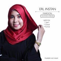 Harga Erloz Hijab Instan Pashmina Maxmara Emboss Maroon Online Banten