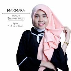 Review Erloz Hijab Segi Empat Maxmara Emboss Peach Hijab