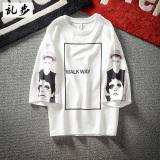 Jual Beli Longgar Musim Panas Di Eropa Dan Amerika Mencetak Lengan T Shirt Blok 545 Lengan Pendek Putih Blok 545 Lengan Pendek Putih Di Tiongkok