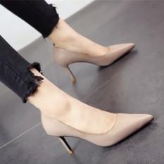 Eropa atau Amerika Serikat Musim Semi Baru Hak Tipis Sederhana Sepatu Tumit (Gading Abu-abu)