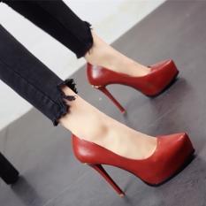 Eropa atau Amerika Serikat Tahan Udara Hak Tipis Super Sepatu Pointed untuk Her (Bata Merah)
