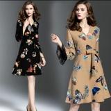 Jual Beli Eropa Dan Amerika Wanita Wanita Pencetakan Tanduk Lengan V Neck Gaun Coklat Coklat Tiongkok