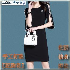 Spesifikasi Gaun Wanita Pembungkus Pinggul Lengan Setengah Panjang Membentuk Tubuh Hitam Hitam Yang Bagus Dan Murah