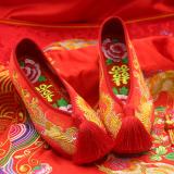 Toko Eryuejian Beijing Oldish Rumbai Perempuan Mempelai Wanita Sepatu Pernikahan Sepatu Kain 2017 Rumbai Model Bunga Kaya Insole Terlengkap