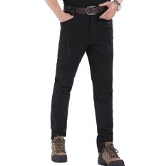 ESDY Executive Slim Fit City Taktis Kargo Celana Pria Zipper Pocket Pelatihan Tempur Militer Tahan Air Agen Hitam Warna Hitam