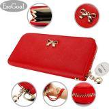 Spek Esogoal Fashion Lady Women Clutch Leather Long Wallet Card Holder Purse Bow Handbag Red