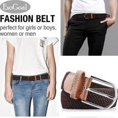 EsoGoal Braided Stretch Belt Kanvas Kain Tenun Elastis Kasual Belt untuk Pria dan Wanita (Coklat)