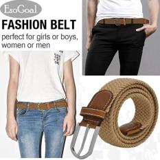 Jual Esogoal Braided Stretch Belt Kanvas Kain Tenun Elastis Kasual Belt Untuk Pria Dan Wanita Khaki Intl Murah