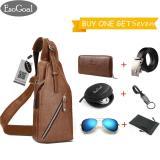 Beli Esogoal Fashion Pria Kulit Dada Tas Fungsional Pria Chest Pack Bag Brown Intl Seken