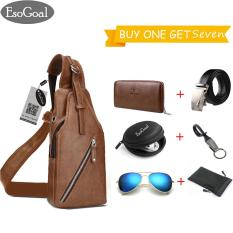Top 10 Esogoal Fashion Pria Kulit Dada Tas Fungsional Pria Chest Pack Bag Brown Intl Online