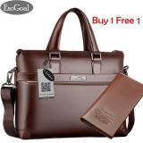 Review Terbaik Esogoal Pria Leather Briefcase Laptop Handbag Messenger Tas Bisnis Dengan Dompet Kulit