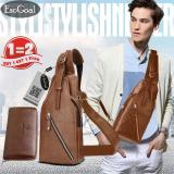 Spesifikasi Esogoal Men S Sling Bag Genuine Leather Chest Shoulder Backpack With Long Wallet For Travel Hiking Sch**l Yang Bagus Dan Murah