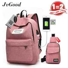 Beli Esogoal Teen Backpack Bag Shoulder Bag Lightweight Canvans Cute 2 Pcs Set With Sch**l Backpack And Cross Body Shoulder Bag For Young Boys G*rl Murah
