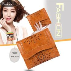Promo Esogoal Wanita Mini Hollow Out Kulit Trifold Clutch Dompet Saku Dompet Kartu Case Purse Murah