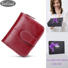 Esogoal Women Mini Soft Leather Bifold Clutch Wallet With Id Window Card For Valentine S Day Present Box Intl Terbaru