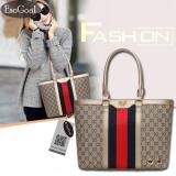 Beli Esogoal Wanita Stripes Hanger Tote Shoulder Bag Lady Pu Leather Purse Handbag Seken