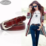 Esogoal Wanita Kulit Ikat Pinggang Wanita Kasual Sabuk With Brushed Alloy For Jeans Shorts Pants Brown Asli