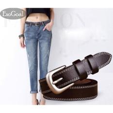 EsoGoal Wanita Kulit Pinggang Sabuk Wanita Kasual Sabuk With Brushed Alloy For Jeans Pants Bang Pendek Celana (cokelat Kehitaman)