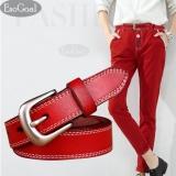 Review Terbaik Esogoal Wanita Kulit Ikat Pinggang Wanita Kasual Sabuk With Brushed Alloy For Jeans Shorts Celana Merah