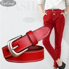 Harga Esogoal Wanita Kulit Ikat Pinggang Wanita Kasual Sabuk With Brushed Alloy For Jeans Shorts Celana Merah Asli Esogoal