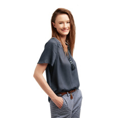 Beli Esprit Blouses Woven Long Sleeve Grey Blue Online