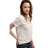 Spesifikasi Esprit Casual Top In Blended Cotton White Bagus