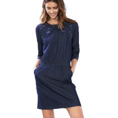 Esprit EDC - Embroidered Denim Dress - Blue Dark Wash