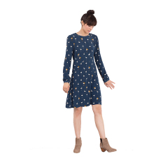 Esprit EDC - Flowing Dress With Flamingo Print - Petrol Blue