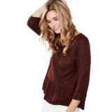 Review Toko Esprit Flowing Blouse With A Wide Flounce Hem Bordeaux Red