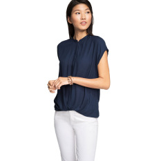 Beli Esprit Flowing Jacquard Blouse Navy Murah Indonesia
