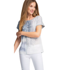 Harga Esprit Flowing Mixed Material Blouse Light Grey 5 Branded
