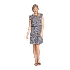 Esprit Flowing Print Dress In A Floral Look - Navy